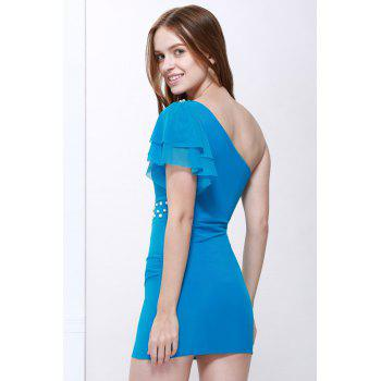 Charming One-Shoulder Sleeveless Beads and Pearl Embellished Women's Slimming Fit Dress - BLUE ONE SIZE