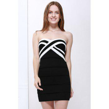 Mini Strapless Color Block Tight Club Dress