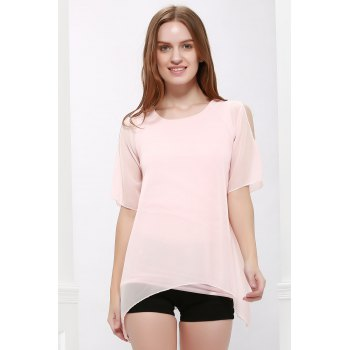 Fairy Style Flowing Texture Chiffon Women's Blouse - PINK PINK