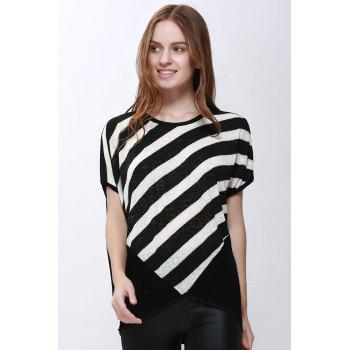 Women's High-Low Hem Stripe Print Batwing Sleeve Plus Size Blouse - BLACK L