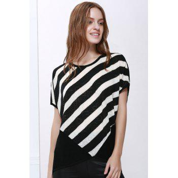 Women's High-Low Hem Stripe Print Batwing Sleeve Plus Size Blouse - BLACK BLACK