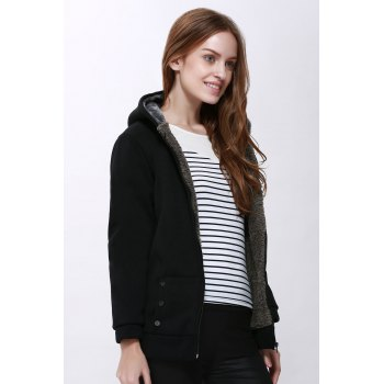 Fashion Casual Women's Thicken Hoodie Coat Outerwear Jacket - BLACK ONE SIZE