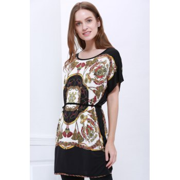 Special Print Scoop Neck Simple Style Short Sleeves Chiffon Women's Blouse - AS THE PICTURE AS THE PICTURE