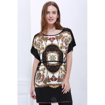 Special Print Scoop Neck Simple Style Short Sleeves Chiffon Women's Blouse