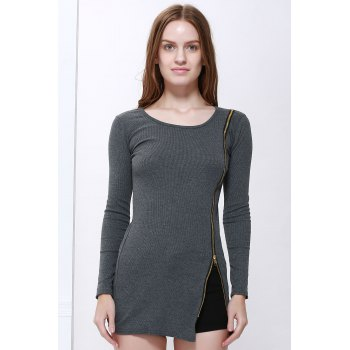 Slimming Zip Embellished Sexy Long Sleeves Dress For Women