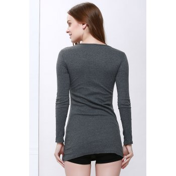 Slimming Zip Embellished Sexy Long Sleeves Dress For Women - DEEP GRAY ONE SIZE