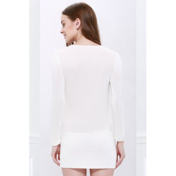 Buttons Decoration Bodycon Long Sleeves Dress - WHITE M
