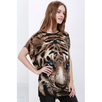Stylish Style Tiger Print Women's T-Shirt - ONE SIZE ONE SIZE