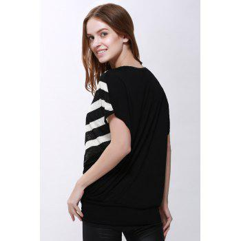 Women's High-Low Hem Stripe Print Batwing Sleeve Plus Size Blouse - XL XL
