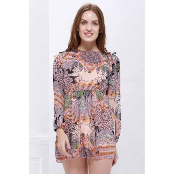 Printed Long Sleeve Mini Chiffon Dress