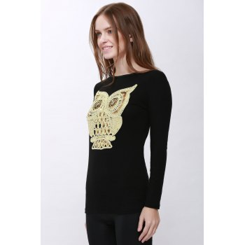 Unique Women's Cartoon Owl T-shirt Casual Long Sleeve - M M