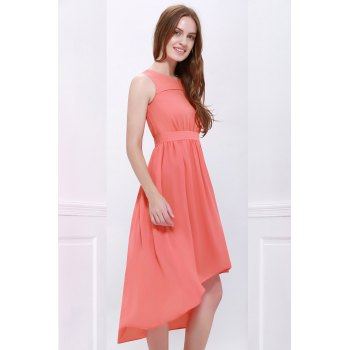 Sleeveless Chiffon High Low Dress - ORANGEPINK S