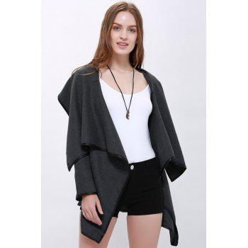 Elegant Long Sleeve Turn-Down Collar Ruffled Coat For Women - GRAY M