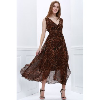 Retro Style Flounce Edge Chiffon V-Neck Sleeveless Women's Maxi-Dress