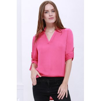Loose Solid Color 1/2 Sleeve Stand-Up Collar Pullover Chiffon Blouse