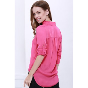 Loose Solid Color 1/2 Sleeve Stand-Up Collar Pullover Chiffon Blouse - ROSE MADDER ROSE MADDER