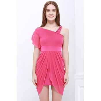 Sexy One-Shoulder Ruffled and Asymmetric Hem Design Beam Waist Women's Dress