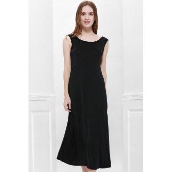 Bohemian Style Delicate Scoop Neck Solid Color V-Shape Backless Black Sleeveless Maxi Dress For Women
