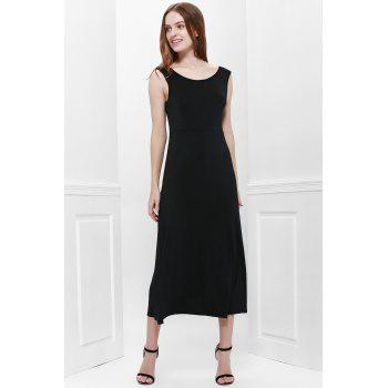 Bohemian Style Delicate Scoop Neck Solid Color V-Shape Backless Black Sleeveless Maxi Dress For Women - BLACK ONE SIZE(FIT SIZE XS TO M)