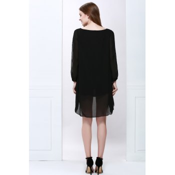 V Neck Slit Sleeve High Low Chiffon Dress - BLACK BLACK