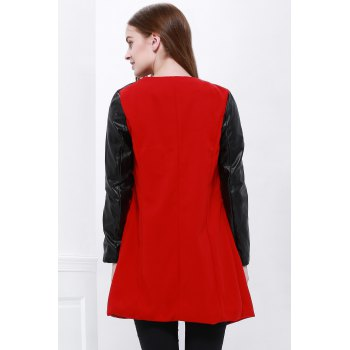Color Block Long Sleeves Fashionable Style Worsted Turn-Down Collar Women's Coat - RED M