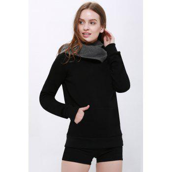 Casual Style Loose-Fitting Solid Color Long Sleeve Hoodie For Women - BLACK BLACK