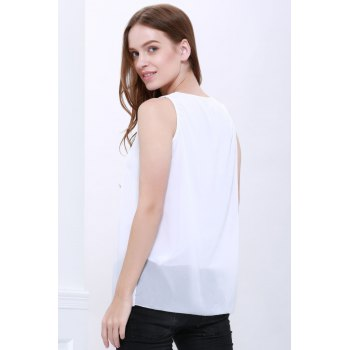 Women's Loose-Fitting Scoop Neck Sleeveless Chiffon Blouse - WHITE WHITE