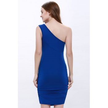 One Shoulder Rhinestone Party Night Out Dress - ROYAL BLUE ROYAL BLUE