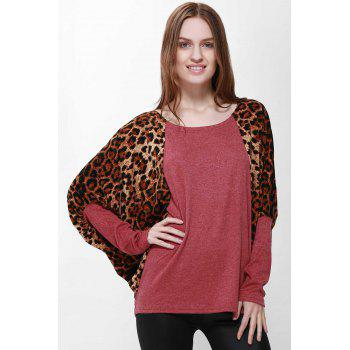 Scoop Neck Color Splicing Leopard Print Long Sleeves Loose Fitting Women s Sweater
