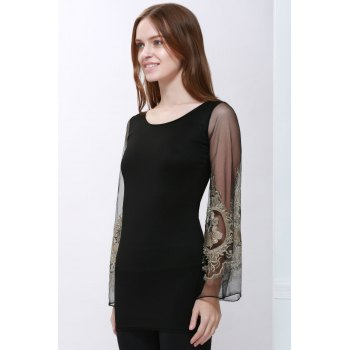 Sexy Style Ninth-Minute Sleeves Slimming Voile Splicing V-Neck Women's Dress - BLACK XL