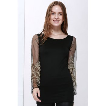 Sexy Style Ninth-Minute Sleeves Slimming Voile Splicing V-Neck Women's Dress
