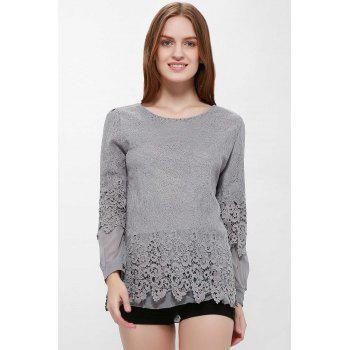Long Sleeves Lace Panel Top - GRAY XL