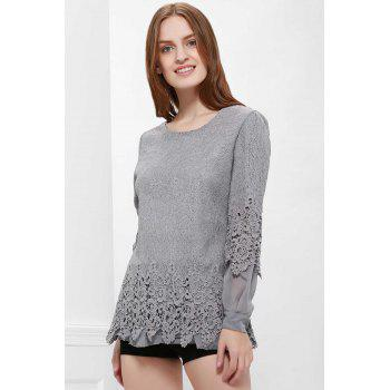 Long Sleeves Lace Panel Top - XL XL