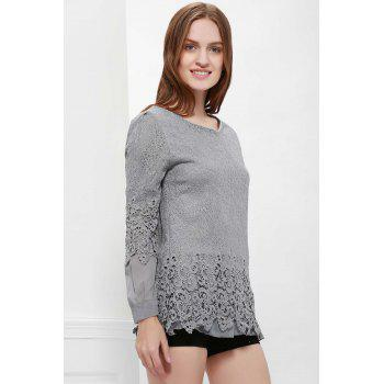Long Sleeves Lace Panel Top - L L