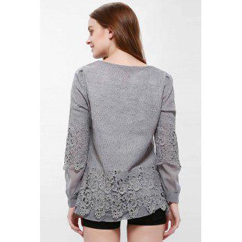Long Sleeves Lace Panel Top - GRAY GRAY