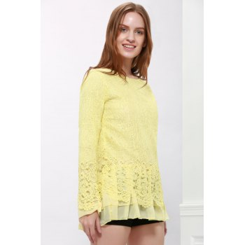 Long Sleeves Lace Panel Top - YELLOW YELLOW