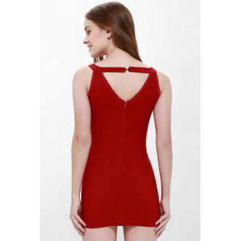 Sexy Style Sleeveless Solid Color Faux Pearl Packet Buttock Women's Dress - RED L