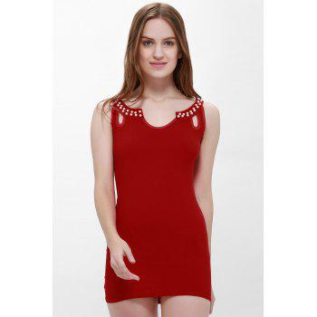Sexy Style Sleeveless Solid Color Faux Pearl Packet Buttock Women's Dress - RED RED