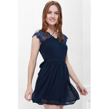 Lace Panel Back Cutout Mini Skater Club Dress - L L