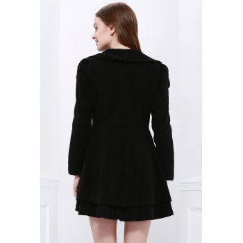 Noble Style Worsted Turn-Down Collar Long Sleeves Solid Color Women's Coat - BLACK M