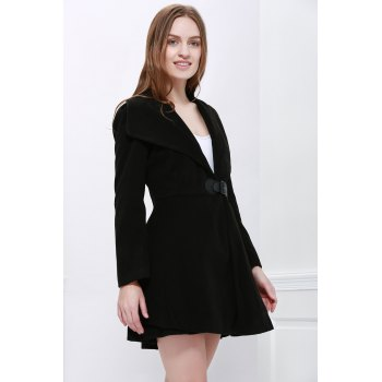 Noble Style Worsted Turn-Down Collar Long Sleeves Solid Color Women's Coat - BLACK L