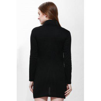 Slit Front Design Solid Color Packet Buttock Long Sleeve Turtleneck Pullover Dress - BLACK BLACK