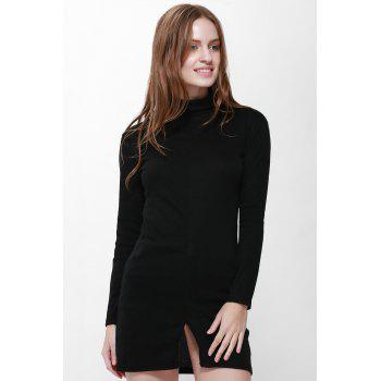 Slit Front Design Solid Color Packet Buttock Long Sleeve Turtleneck Pullover Dress - BLACK M