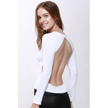 Solid Color Backless T Shirt