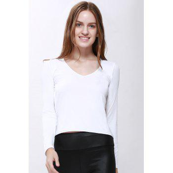 Trendy Style Scoop Neck Solid Color Backless Long Sleeve T-Shirt For Women - WHITE S