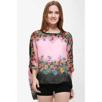 Loose-Fitting Bat-Wing Floral Print Bohemia Style Scoop Neck Women's Blouse - PINK PINK