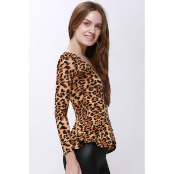 Scoop Neck High Elasticity Cotton Sophisticated Style Long Sleeves Women's T-Shirt - LEOPARD LEOPARD