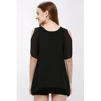Plain Chiffon Cold Shoulder Dress - BLACK ONE SIZE