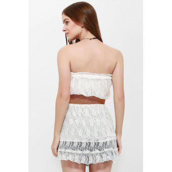 Strapless Mini Lace Tube Dress - WHITE ONE SIZE