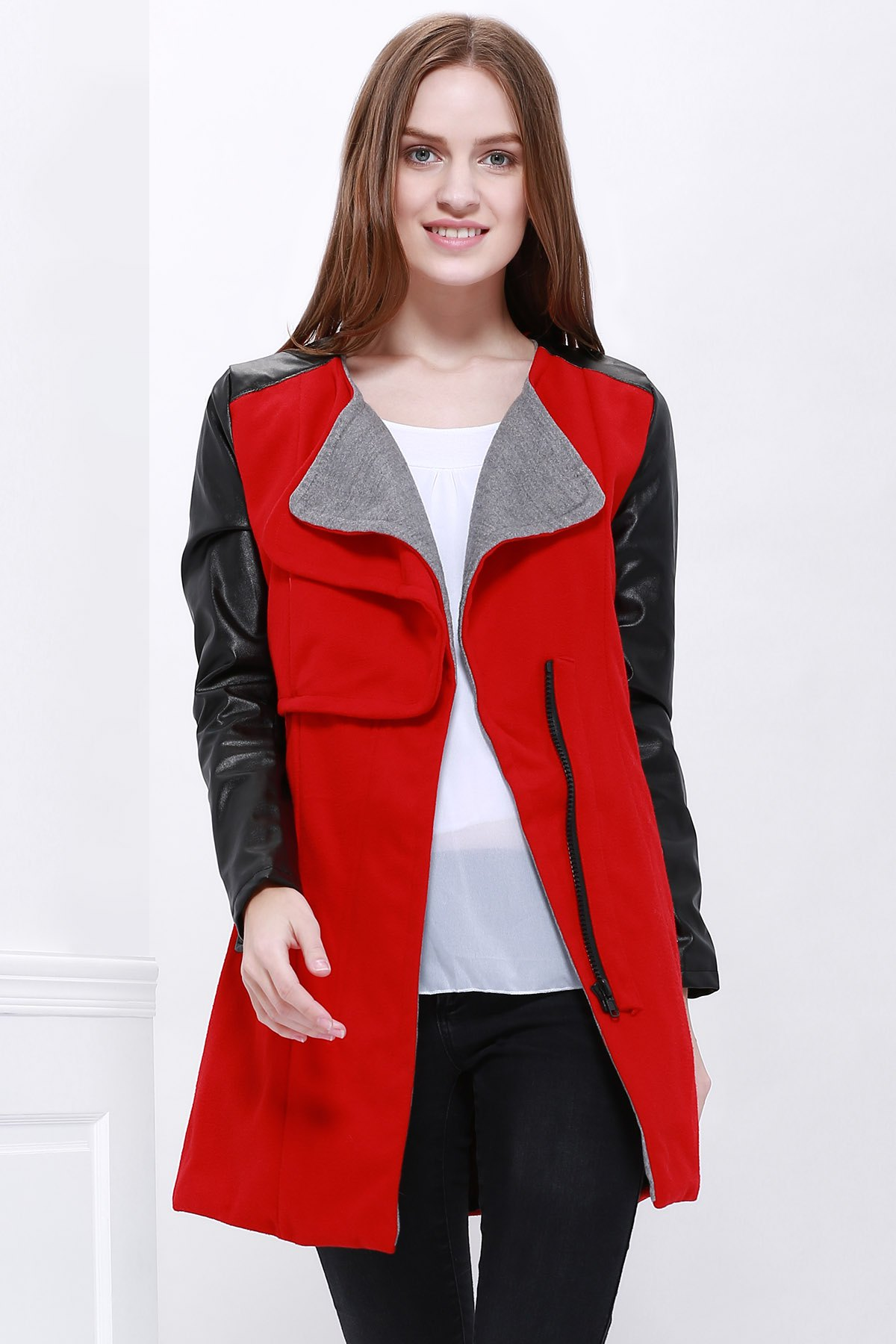 Color Block Long Sleeves Fashionable Style Worsted Turn-Down Collar Women's Coat - RED S